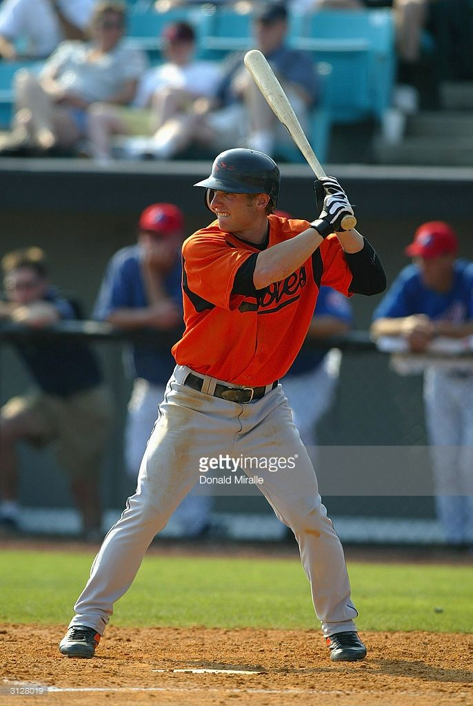 Mike Fontenot #73 of the Baltimore Orioles stands at bat against the Montreal Expos during Spring Training on March 12, 2004 in Vero, Florida. The Orioles won 7-4.