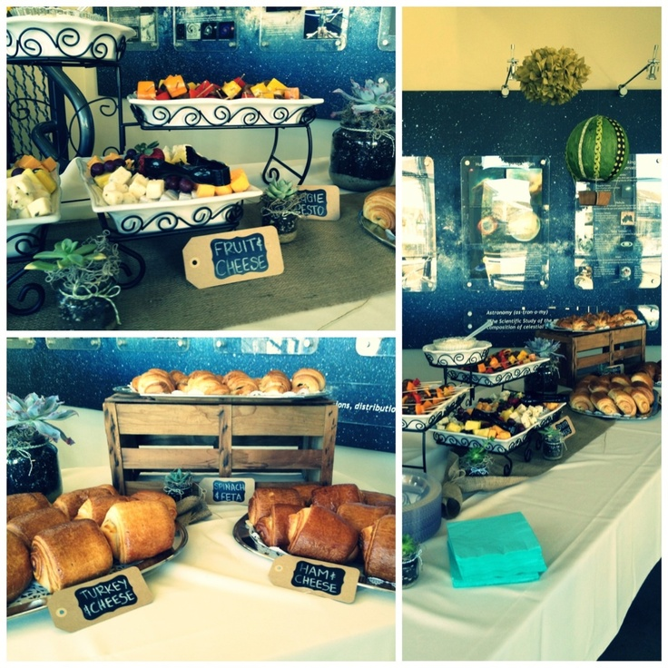 baby boy vintage hot air balloon shower -- a buffet of baby shower food
