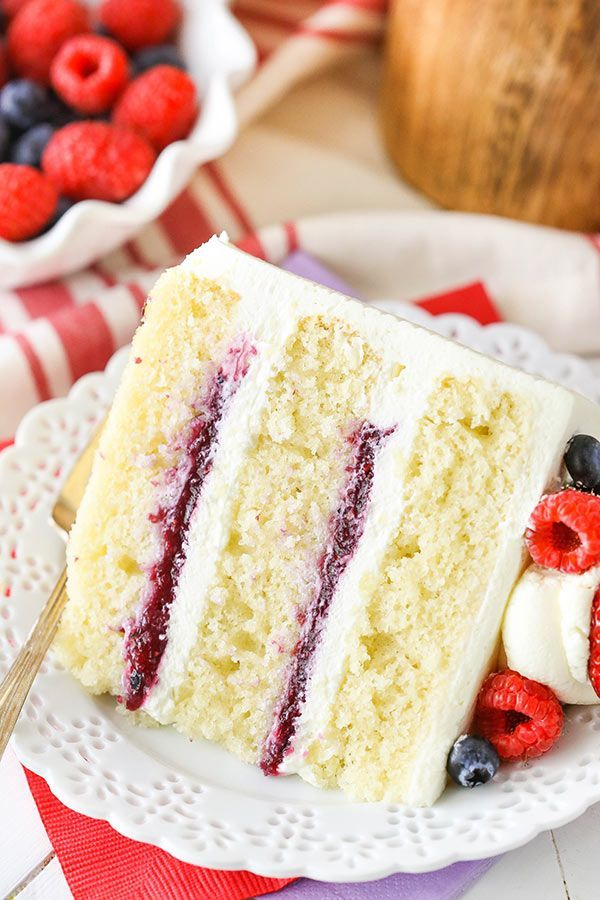 This Berry Mascarpone Layer Cake has layers of fluffy vanilla cake, fresh berry filling and mascarpone whipped cream frosting! It's light, fruity and perfect for spring!