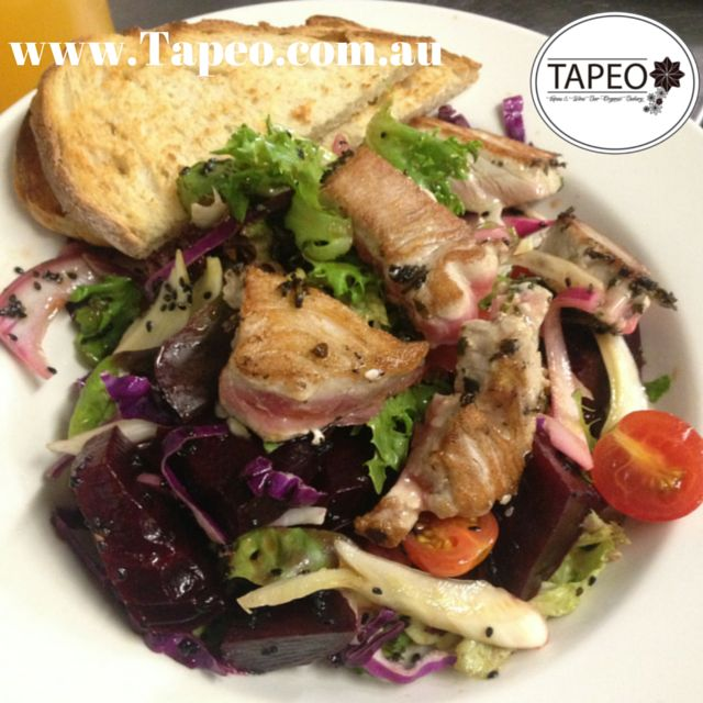 Try our #delicious #panseared #freshtuna #salad here at Tapeo. Visit us at 82 Redfern St, Redfern NSW. Check us out at http://www.Tapeo.com.au & follow us on FB http://FB.com.tapeo.au #tapeosydney #tapeocafe #tapeo #tapeoredfern #cafe #restaurant #sydneycafe #sydneyrestaurant #healthyliving #sydney #redfern