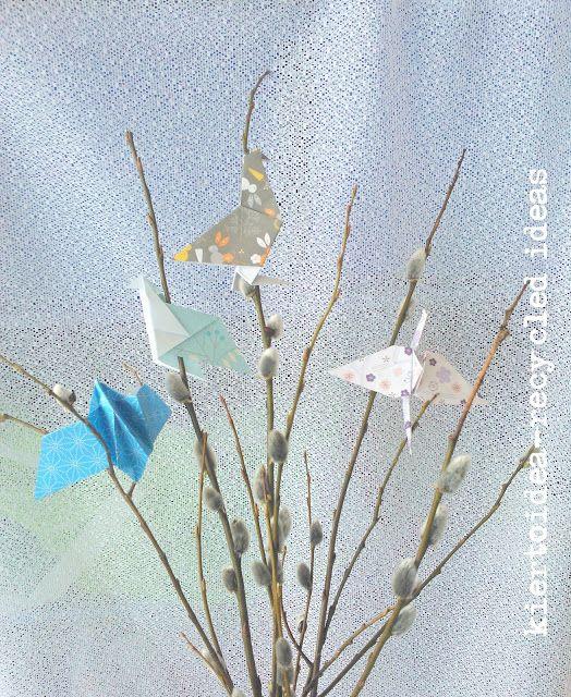 Virvon varvon origamit - Origami Easter willows