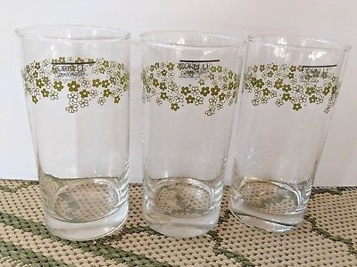 NOS Corelle Coordinates Crazy Daisy Drinking Glasses Set of 3