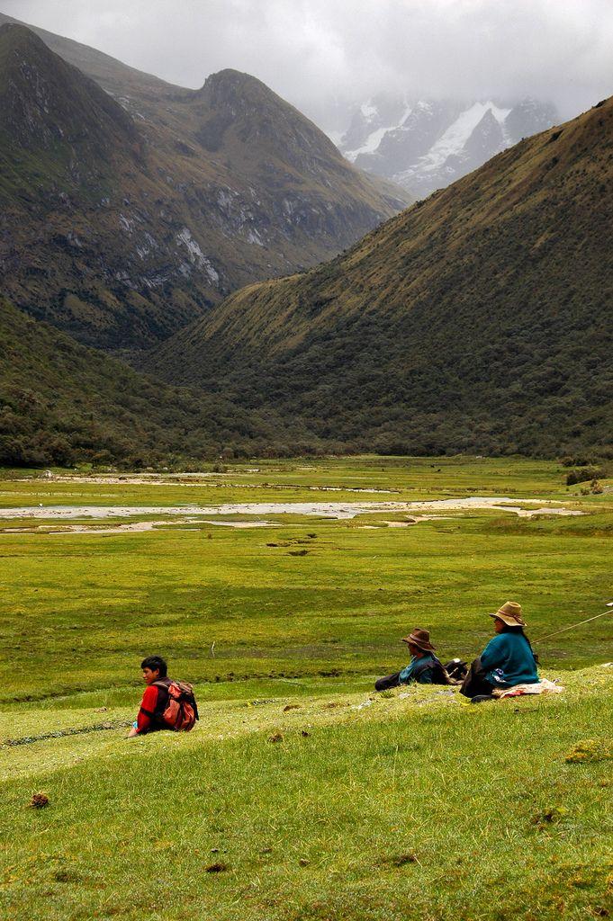 Locals along the Santa Cruz trail in the Cordillera Blanca, Peru.