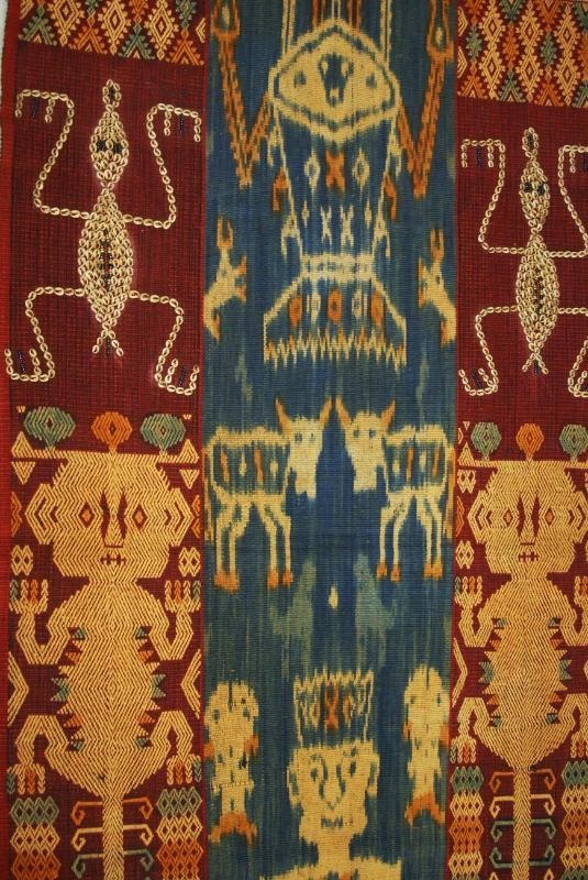 The hand spun hand woven colored with natural pigments Sumba ikats such as this one bear motifs of bold, bright designs of people, animals and animistic totems. Taking up to two years to produce, a full sized cloth is highly prized. Offered by Asmatcollection on ebay and bonanza.com cheetahdmr@aol.com