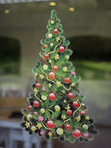 Christmas Window Decoration Traditional  Tree Double Sided Cling  290mm x 190mm