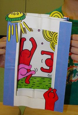 Keith Haring pop-up tunnel Books - this could be done waaaaaaaaay more advanced with yr 8-9 with funky patterns, graffiti text and action bending, twisting diving figures - could be individual or collaborative - use colour harmonies or contrasting colours to make figures stand out!