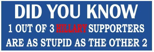 I out of 3 Hillary supporters are  - ANTI HILLARY POLITICAL BUMPER FUNNY STICKER