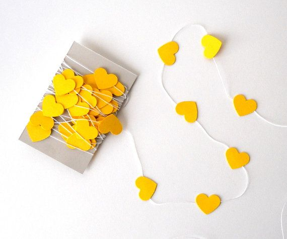 Hearts on a String 10 ft of Mini Yellow Hearts  Decor by LBCpaper, $8.00