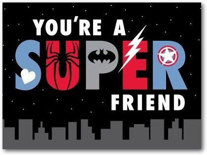Valentine's Day Cards for Kids Superhero Skyline - Front : Black