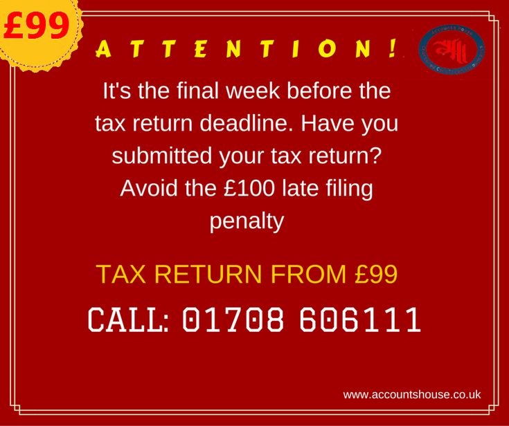 ATTENTION! It's the final week before the #tax return #deadline.   #SelfAssessment #TaxReturn From £99. HurryUp!! Call us today on: 01708 606111 Or Visit : http://accountshouse.co.uk/