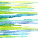 Abstract watercolor lime and blue lines