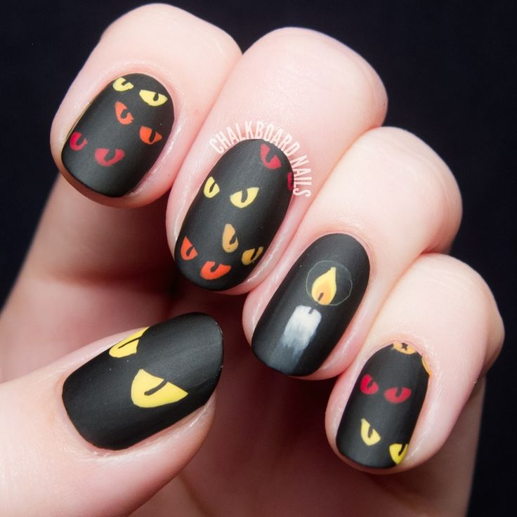 31st october nails, Black background nails, Candle nails, Cheerful nails,  Halloween nails - 58 Best Halloween Nails Images On Pinterest Nail Black, October