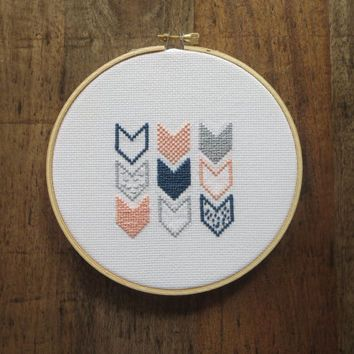 Shop Modern Art Cross Stitch on Wanelo I really like the  Navy and Peach and Grey together