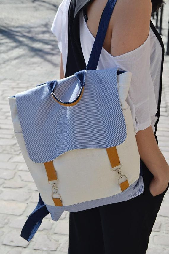 BACKPACK/ LAPTOP BACKPACK/ neutral colours/ by KraftyCuts on Etsy