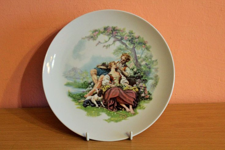 JIESIA Porcelain Plate, Decorative Wall Hanging Plate, Victorian Couple Painting Decor, Made in Lithuania Soviet USSR Cccp Russian by Grandchildattic on Etsy