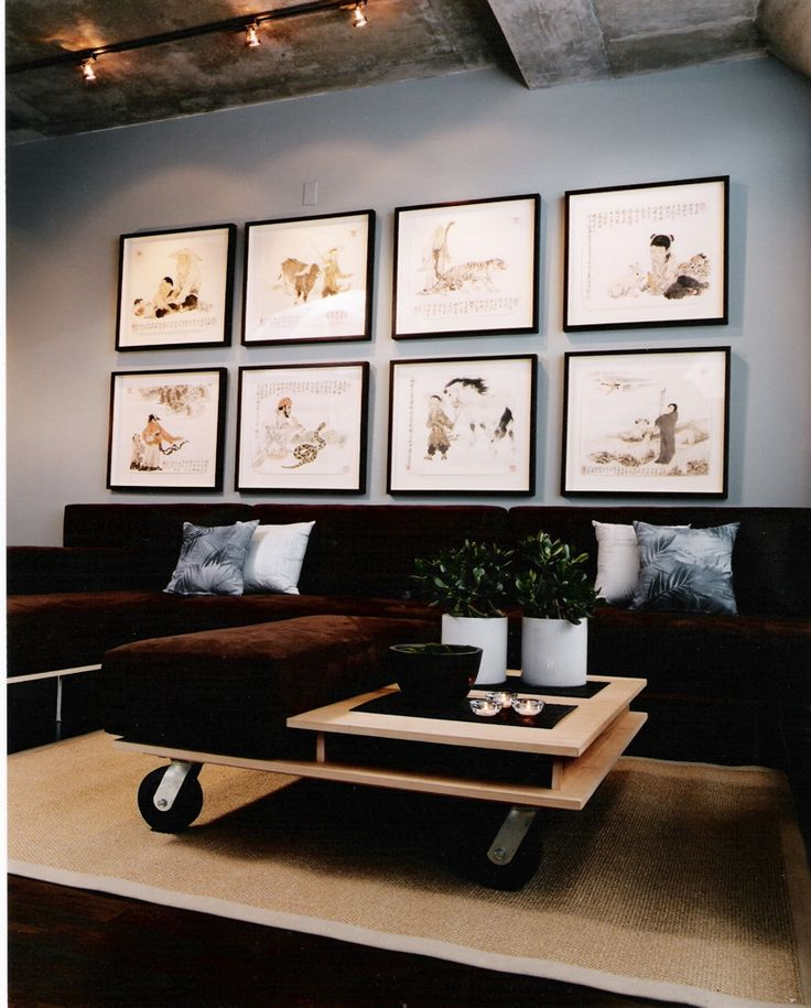 Studio Loft on King St. Custom-framed artwork, Custom modular seating and coffee table in ultrasuede and birch ply.