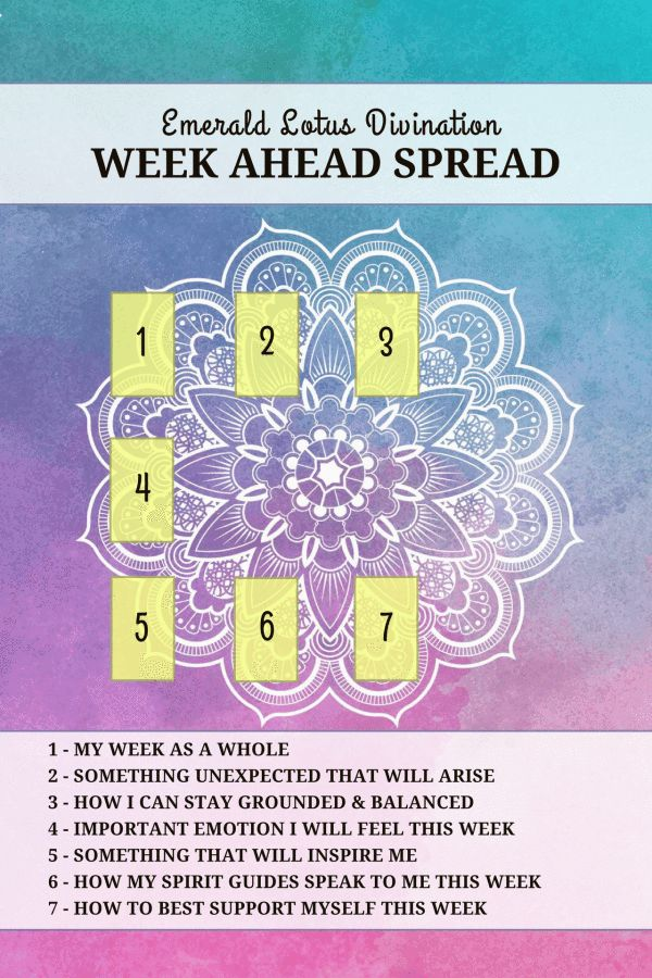 New weekly spread for a positive week ahead! For more free tarot spreads visit, www.emeraldlotus.ca