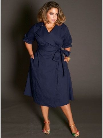 Boulangerie Plus Size Wrap Dress in Navy