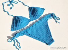 2015 Swimwear Crochet Bikini - Mykonos Blue Bikini Set 2015 Swimwear Crochet Bikini Top Bikini Bottom Summer Fashion Tie Bikini Swimsuit EXPRESS