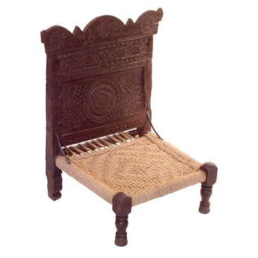 Exceptional Early Century Indian Low U201c Pidau201d Chair With Shaped Back, Hand  Carved Tribal Design And Jute Rope Seating.