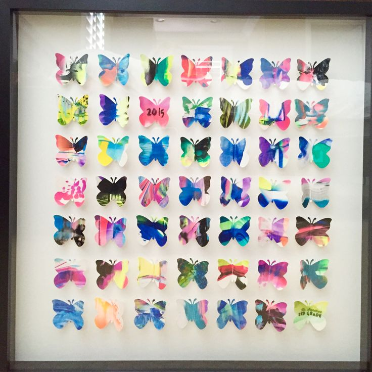 3rd grade art project for our school's auction.  I had the class make drip paintings and scrape paintings and once they were dry I used a butterfly punch to punch out the coolest parts.  I folded them in half and arranged them in a grid on white card stock and put it in a 20x20 shadow frame from Ikea.