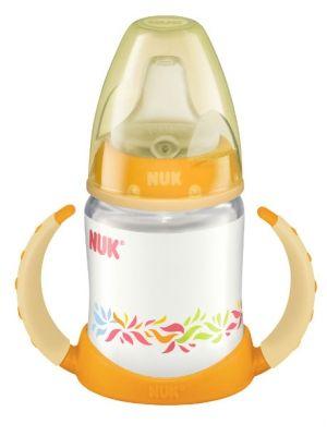 """Butelka NUK FIRST CHOICE z silikonowym ustnikiem i podwójnymi uchwytami  - dla dzieci od 6 miesięcy - ułatwia płynne przejście od karmienia piersią lub butelką do samodzielnego picia przez dziecko - silikonowy ustnik """"niekapek"""" umożliwia picie bez rozlewania"""