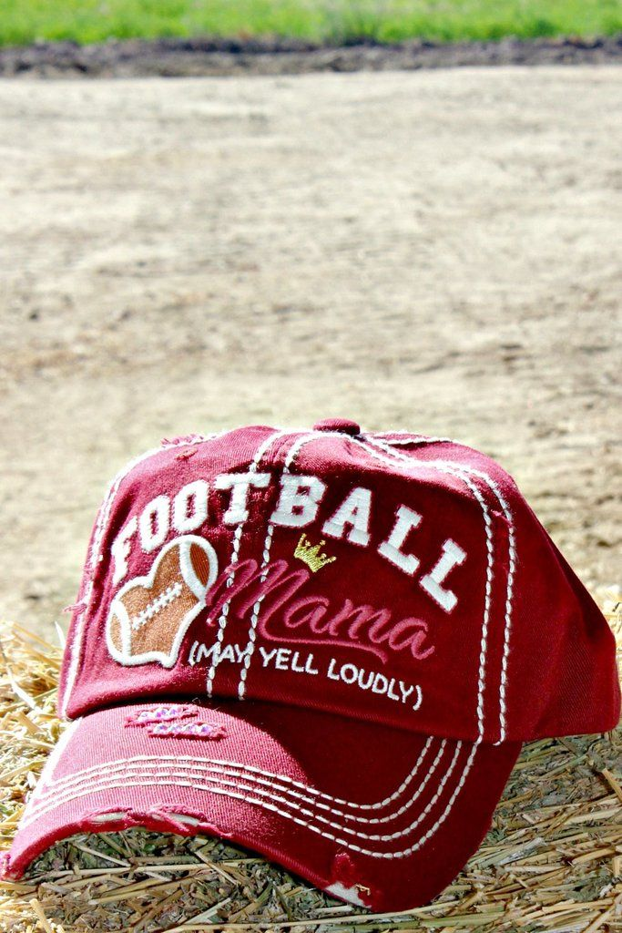3b672d8ce77574 Our Football Mama trucker hat is a distressed, low profile style with an  adjustable back