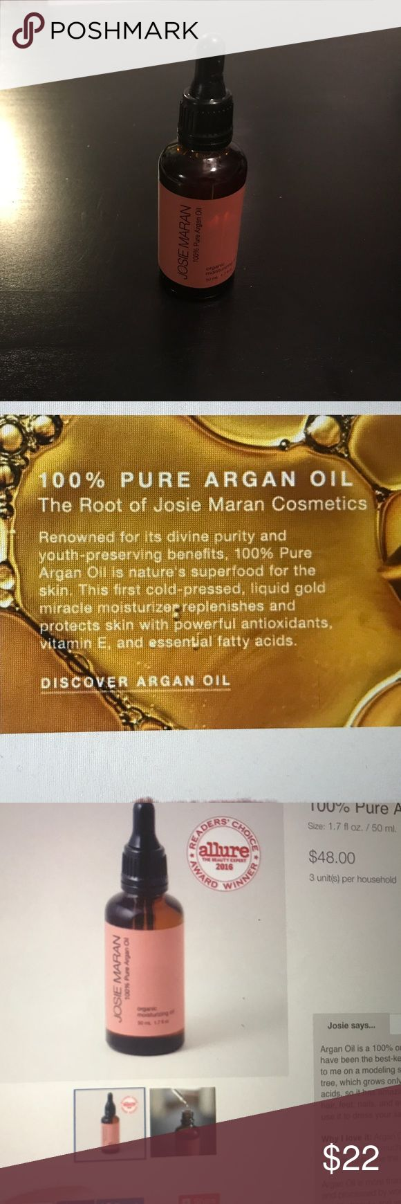 100% Argan Oil Josie Maran 100% pure Argan oil.  Never been opened.  This oil can be used on face, lips, hair, cuticles. josie maran Other