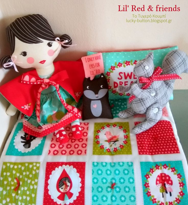 Lil' Red & friends doll panel  Χειροποίητη πάνινη κουκλίτσα κοκκινοσκουφίτσα