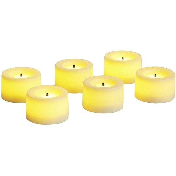 Pier 1 Imports Deco Wick LED Tealight Candle Set Of 6 ($12) ❤ liked on Polyvore featuring home, home decor, candles & candleholders, ivory, inspirational home decor, led tealight candles, ivory tea lights, led tea lights and led tealights