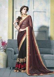 Black Color Awesome Embroidered Designer Saree