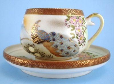 Kutani China Geisha Lithophane Demitasse Cup Saucer Peacocks | eBay: