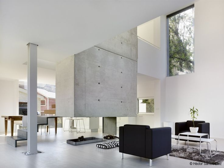"""Suspended"" concrete chimney at EINS House. Architects: Óscar Pedrós Location: O Valiño, Oleiros, A Coruña, Spain"