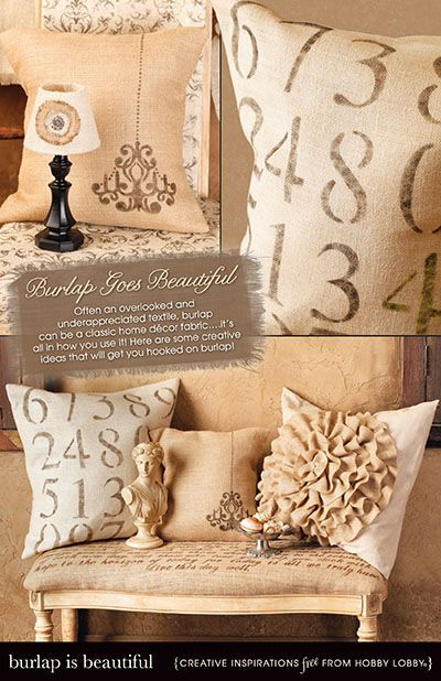 Burlap goes beautiful! Often an overlooked and under appreciated textile, burlap can be classic home decor fabric... its all in how you use it! Here are some creative ideas that will get you hooked on burlap!