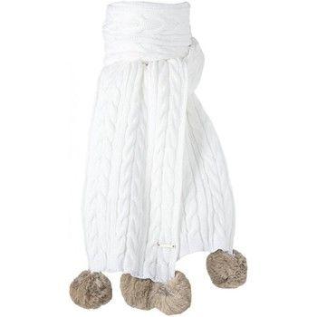 echarpe Barts Echarpe blanche pompon fourrure véritable Modèle junior et femme Blanc 350x350