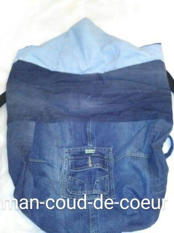 couverture ou cape de portage personnalisable porte-bébé kangourou jean doublée avec poche