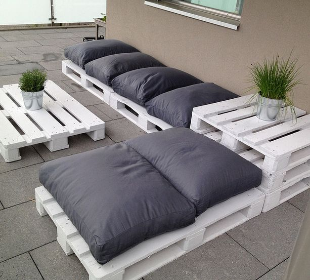 Pallet outdoor searing with comfy cushions!