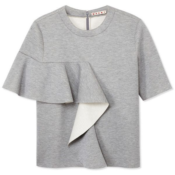 Marni Gray Ruffle Sweatshirt (2.175 BRL) ❤ liked on Polyvore featuring tops, hoodies, sweatshirts, grey, wrap tops, grey crew neck sweatshirt, crew neck sweatshirts, flounce top and grey crew sweatshirt