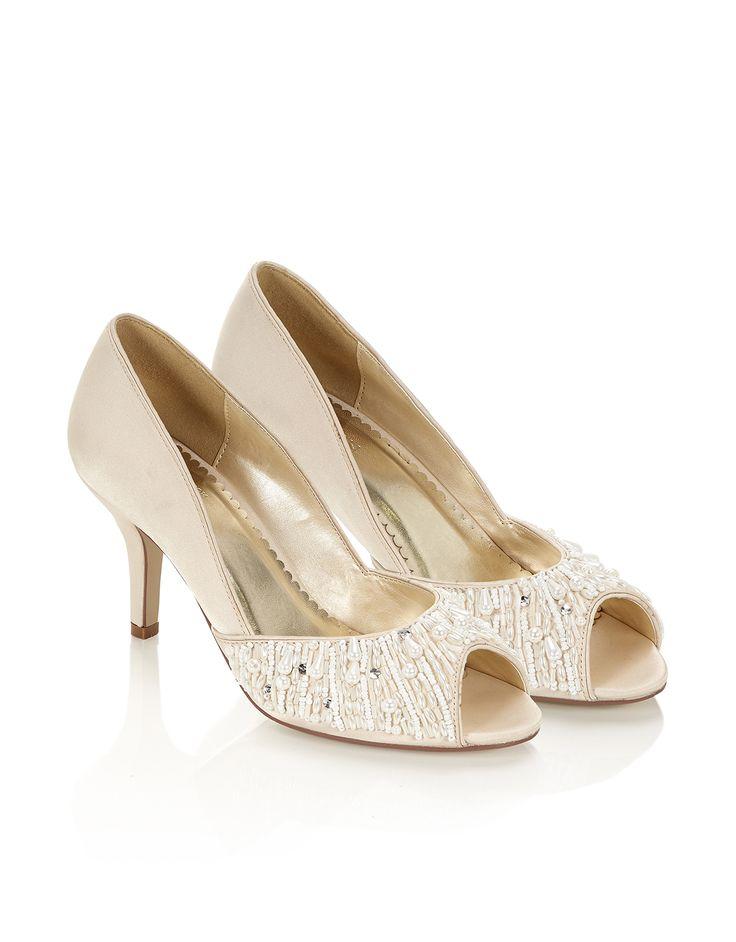 Elsie Pearl Peeptoe Shoe | Ivory | Monsoon