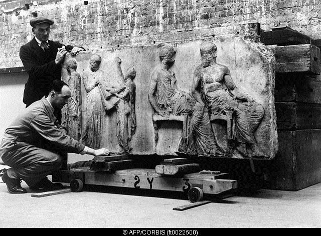 Elgin Marbles, stored in Aldwych Station during World War II.