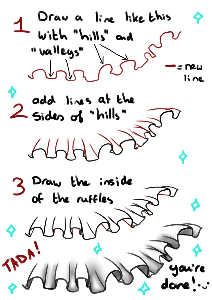 """"""" How to draw ruffles - by ICanReachTheStars (requested by ilovetodraw2) """" …"""