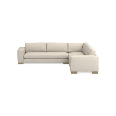 Yountville Sectional, 3-Piece L-Shape Loveseat, Down Cushion, Sunbrella Performance Cross Weave, Malt, Natural Wood Feet   – Products