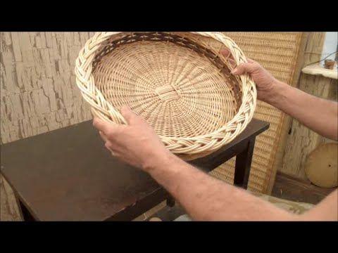 ▶ Плетение из лозы-Поднос-Wickerwork - YouTube