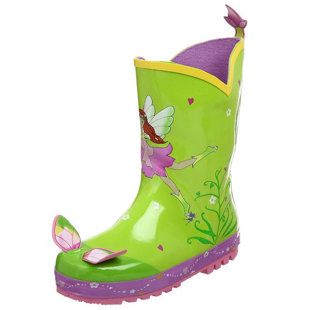 The Kidorable Fairy rain boots are a waterproof design with a tractioned sole which will keep your child steady on her feet when she is out playing in the rain.  These boots are very comfortable on and the heal tab makes it easy to put the boots on and take off with ease.