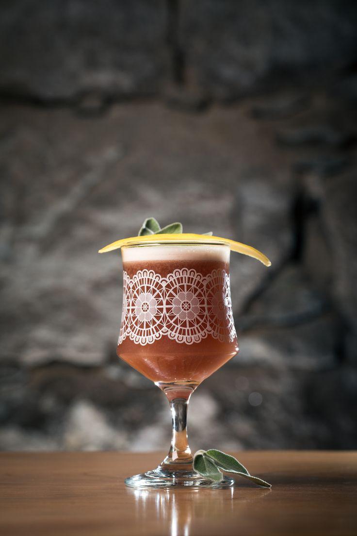 Fig  Sage Sour | Appleton VX Rum, Briottet Crème de Cassis, House-made Fig  Sage Syrup, Fresh Lemon  Egg White