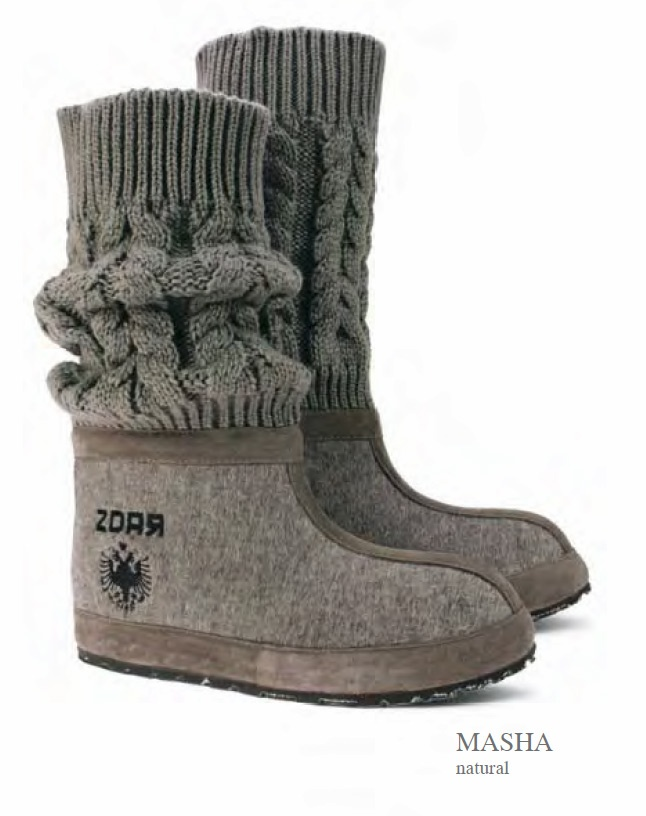 ZDAR Masha, Natural - 100% wool felt, suede, 100% wool knitted material, 'cushion comfort' insole  covered with calf leather, sole material: rubber, hemp