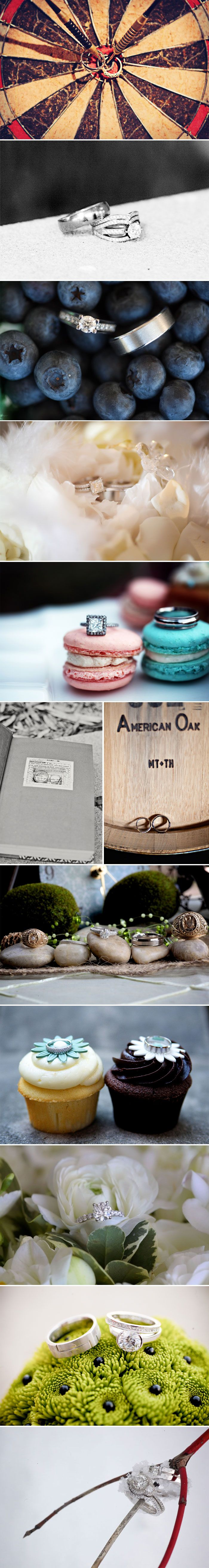 wedding ring photos... love some of these rings...especially the one on the pink sandwich ... So pretty