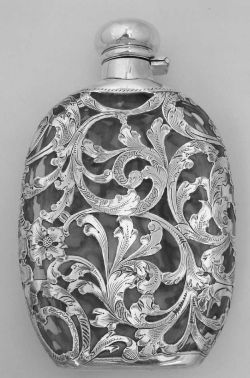 Art Nouveau Silver Overlay Ladies Flask