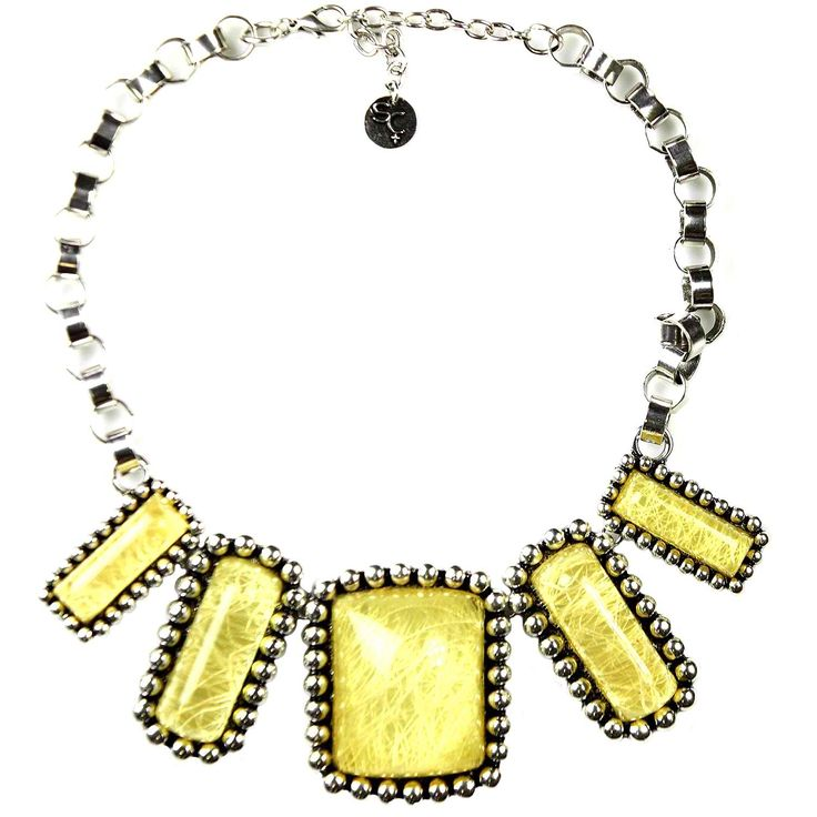 Sistaco's Milan Silver Bead Cream Necklace with Five Squares.  Absolutely gorgeous couture necklace. Semi-transparent stones change their hue depending on whether they are over bare skin or clothing. Sits comfortably on chest and is very versatile and trans-seasonal. http://www.byariane.com.au/Sistaco-Milan
