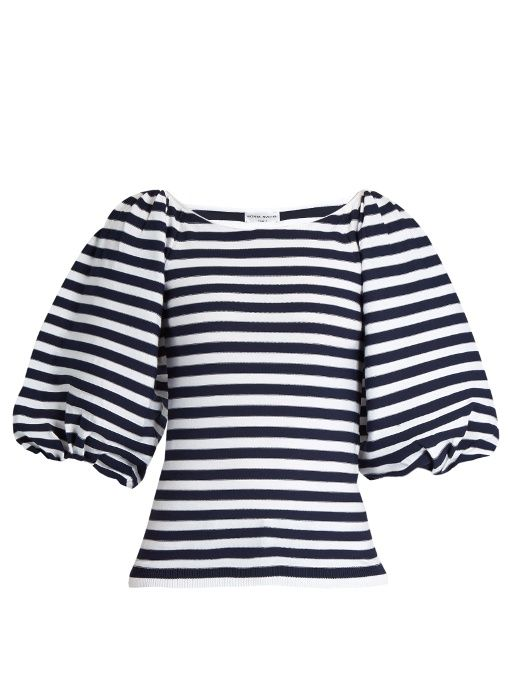 SONIA RYKIEL Balloon-sleeved striped top. #soniarykiel #cloth #top